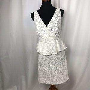 Trina Turk White Floral Embroidered Peplum Dress